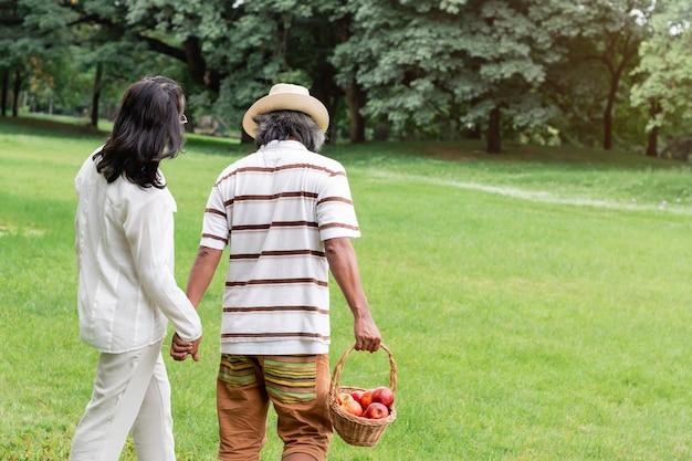 Asiatico maturo romantico delle coppie con felicità di stile di vita del canestro di frutta in parco. Foto Premium