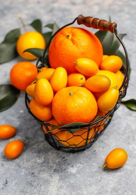 Assortiti agrumi freschi nel cestello per la conservazione degli alimenti, limoni, arance, mandarini, kumquat, vista dall'alto Foto Gratuite