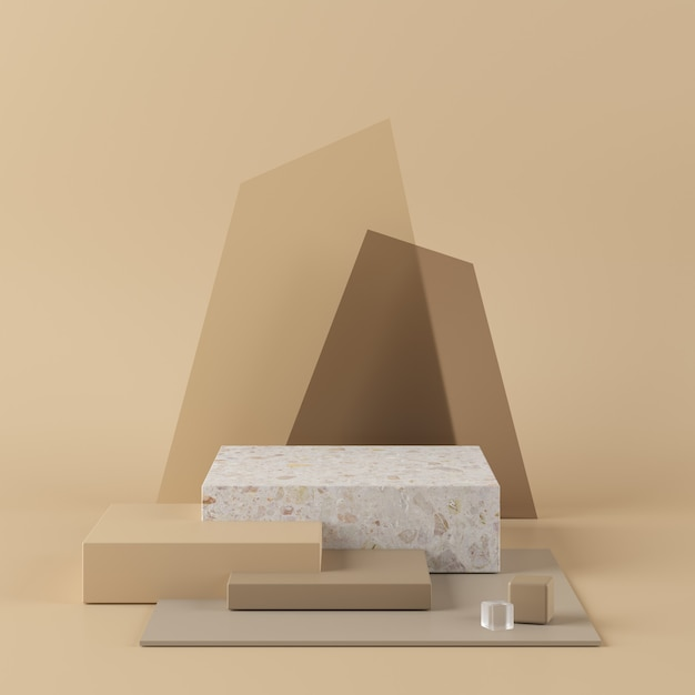 Astratto sfondo beige con podio di forma geometrica. rendering 3d per prodotto. Foto Premium