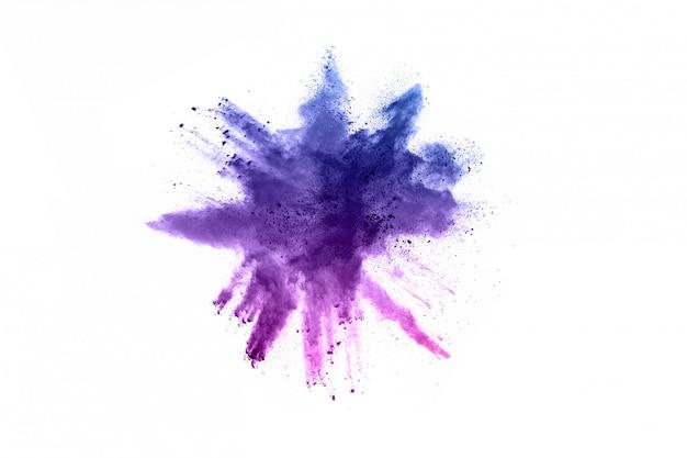 Astratto sfondo di polvere splatted. esplosione di polvere colorata su sfondo bianco. Foto Premium