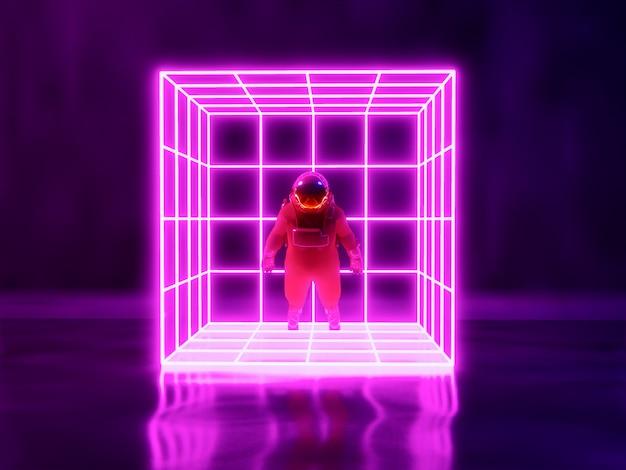 Astronauta e sfondo di luce al neon Foto Premium