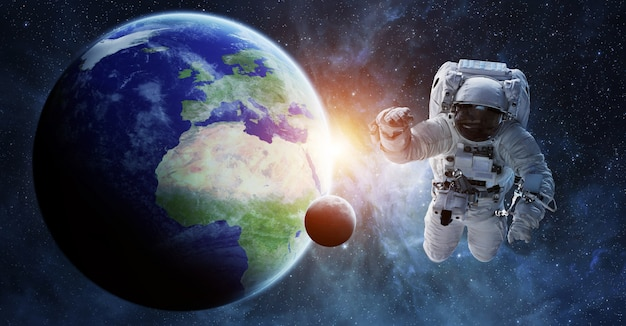 Astronauta galleggiante negli elementi di rendering 3d dello spazio Foto Premium
