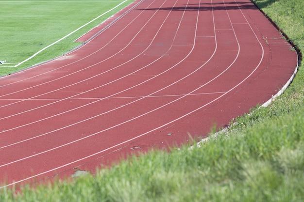 Atletica leggera corrente con erba verde per calcio allo stadio Foto Premium
