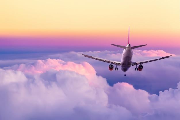 Atterraggio di aeroplano del passeggero contro il cielo variopinto giallo e rosa stupefacente con le nuvole durante il tramonto. Foto Premium