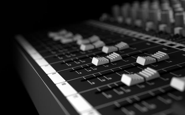 Attrezzatura da studio del suono. rendering 3d Foto Premium