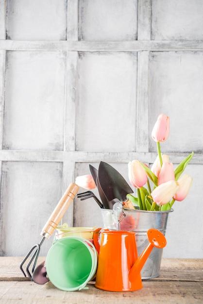 Attrezzi da giardinaggio e fiori Foto Premium