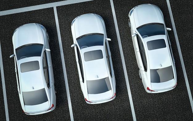 Auto bianche in un parcheggio Foto Premium