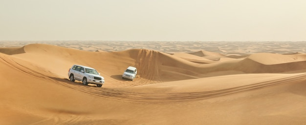 Auto in un deserto Foto Premium