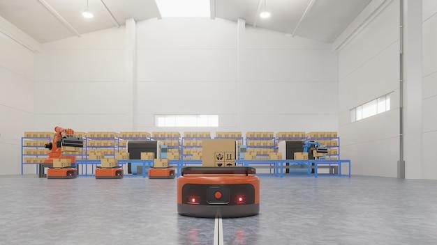 Automazione di fabbrica con agv e braccio robotico in trasporto per aumentare il trasporto di più con la sicurezza. Foto Premium