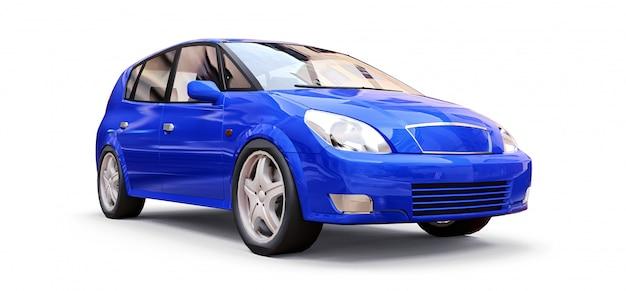 Automobile blu della città con superficie in bianco per il vostro disegno creativo. illustrazione 3d Foto Premium