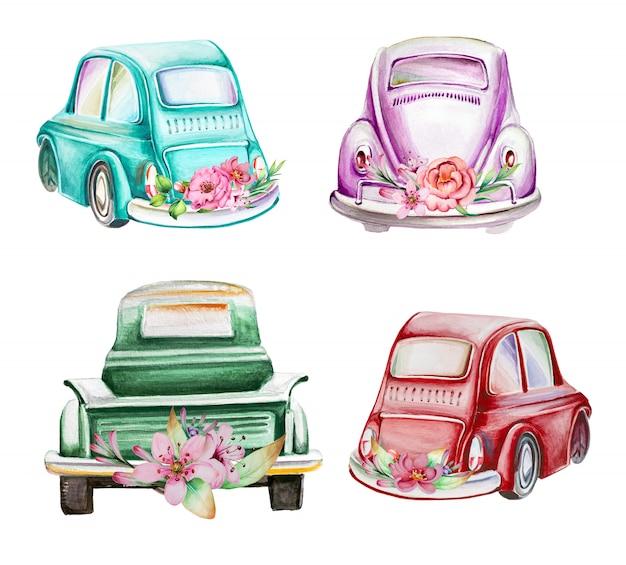 Automobili dipinte a mano dell'acquerello retro con l'illustrazione dei fiori. Foto Premium