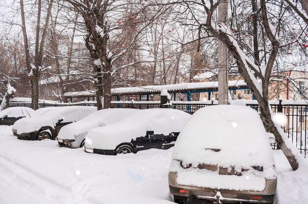 Automobili innevate parcheggiate nel cortile nella mattina nuvolosa di inverno. Foto Premium