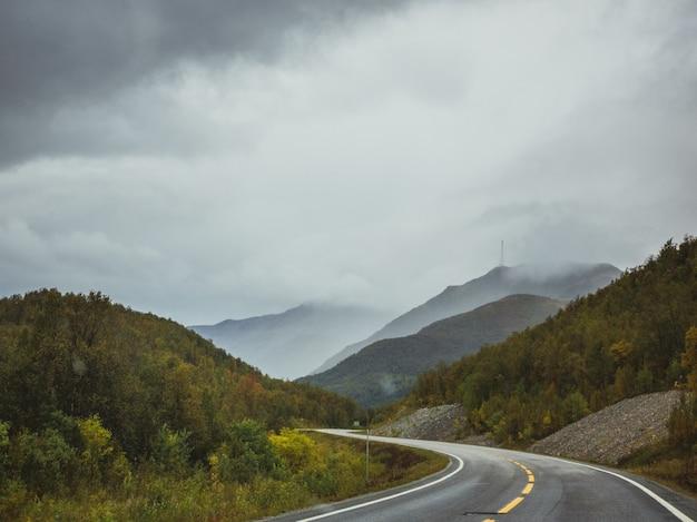 Autostrada vicino alla foresta in montagna sotto il cielo nuvoloso scuro Foto Gratuite