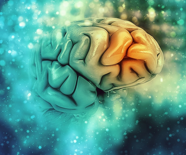Background medico 3d con cervello con lobo frontale evidenziato Foto Gratuite