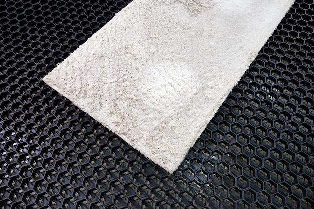 Bagnare la moquette prima di pulirla al servizio di lavanderia Foto Premium