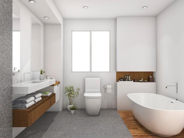 Bagno della progettazione di legno e delle mattonelle della rappresentazione 3d vicino alla finestra Foto Premium