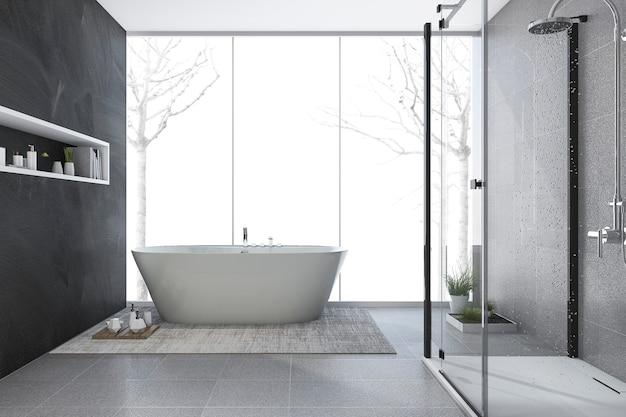 Bagno di progettazione moderna della rappresentazione 3d nell'inverno Foto Premium