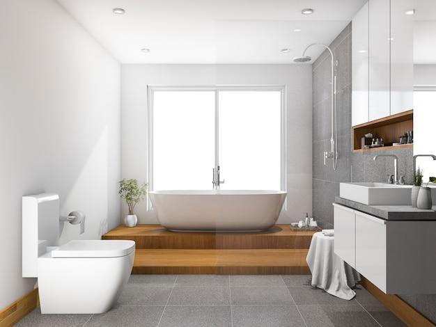 Bagno e toilette di punto di legno della rappresentazione 3d vicino alla finestra Foto Premium