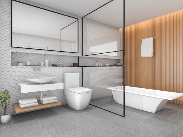 Bagno piastrellato bianco esagonale con decori in legno Foto Premium