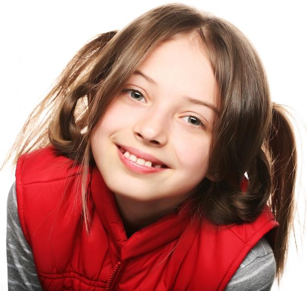 Bambina divertente, ritratto da vicino Foto Premium