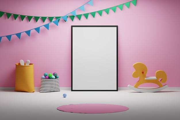 Bambini baby room con giocattoli cornice vuota vuota e bandiere decorative Foto Premium