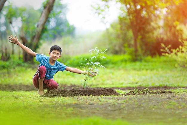 Bambino indiano piantando un albero Foto Premium