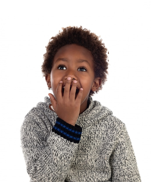 Bambino sorpreso che copre la bocca Foto Premium
