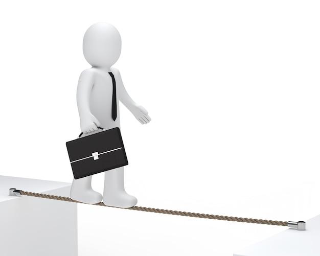 Bambola di pezza con una valigia che cammina su una corda Foto Gratuite