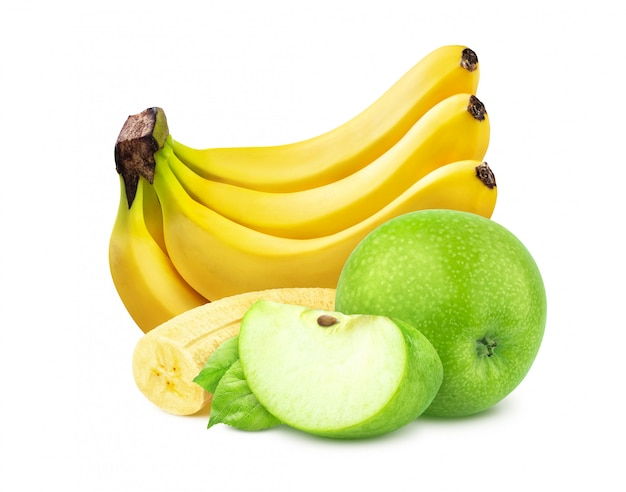 Banana e mela isolate su fondo bianco Foto Premium