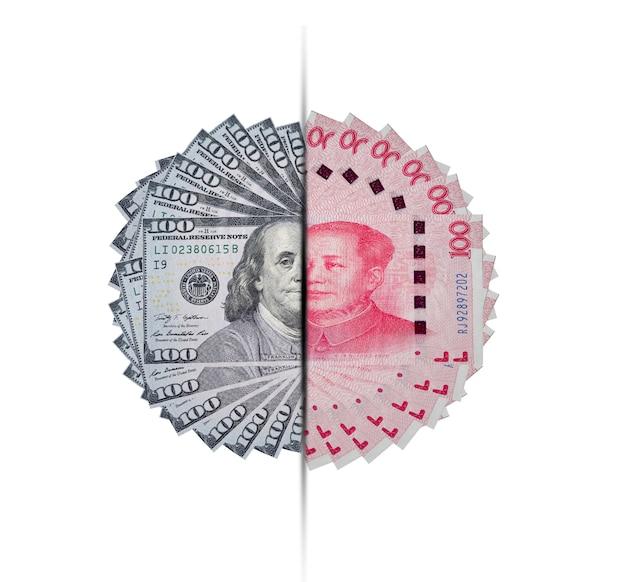 Banconota del dollaro e dello yuan Foto Premium