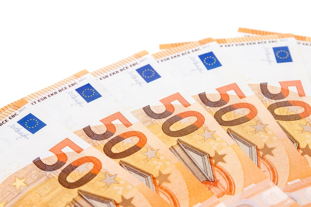 Banconote da cinquanta euro Foto Premium