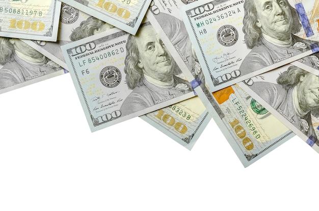 Banconote da un dollaro. denaro americano, vista dall'alto Foto Premium