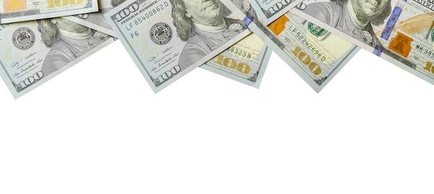 Banconote da un dollaro. soldi americani isolati su bianco con lo spazio della copia Foto Premium