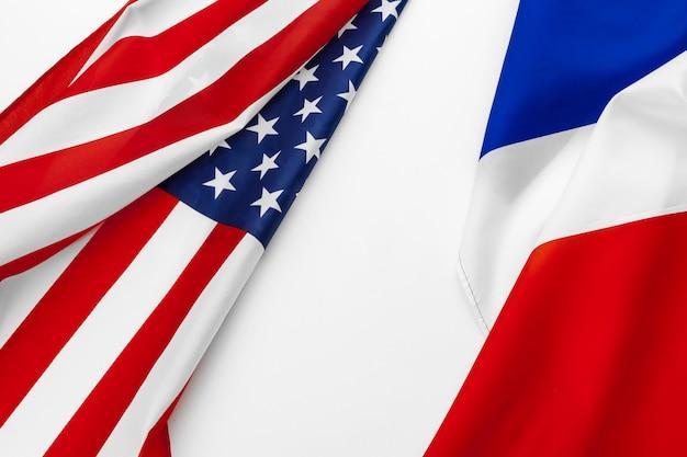 Bandiera degli stati uniti d'america e bandiera della francia Foto Premium
