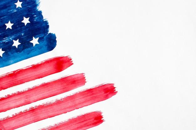 Bandiera degli sua dell'acquerello piatto laico con copia-spazio Foto Gratuite