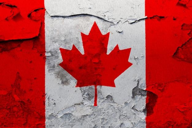 Bandiera del canada dipinta sul muro di grunge incrinato Foto Premium
