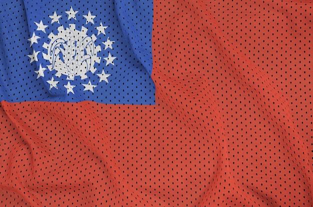 Bandiera del myanmar stampata su una rete di nylon poliestere Foto Premium