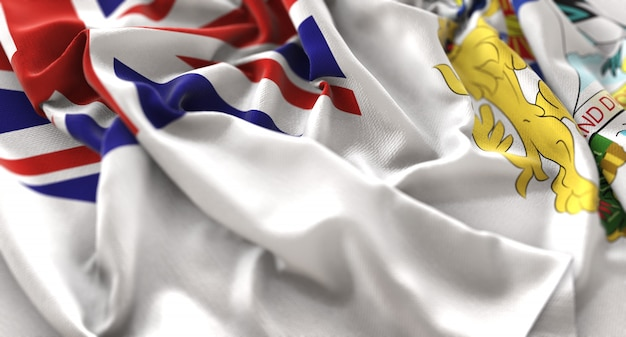 Bandiera del territorio antartico britannico increspato splendidamente sventolando macro close-up shot Foto Gratuite