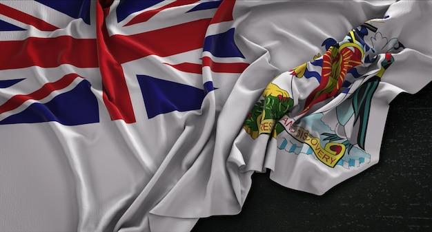 Bandiera del territorio antartico britannico ruggioso su sfondo scuro 3d rendering Foto Gratuite
