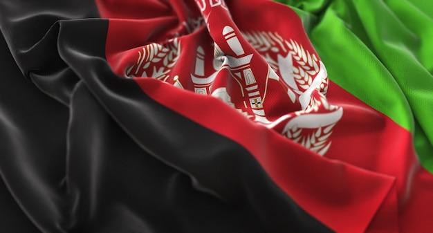 Bandiera dell'afghanistan ruffled beautifully waving macro close-up shot Foto Gratuite