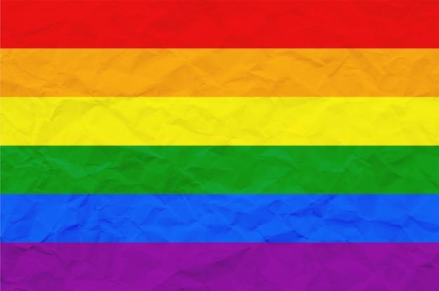 Bandiera dell'orgoglio lgbt o bandiera dell'orgoglio arcobaleno su carta stropicciata Foto Premium