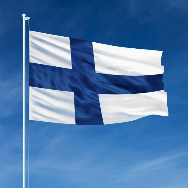 Bandiera della finlandia in volo Foto Premium