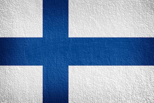 Bandiera della finlandia sulla parete di texture Foto Premium
