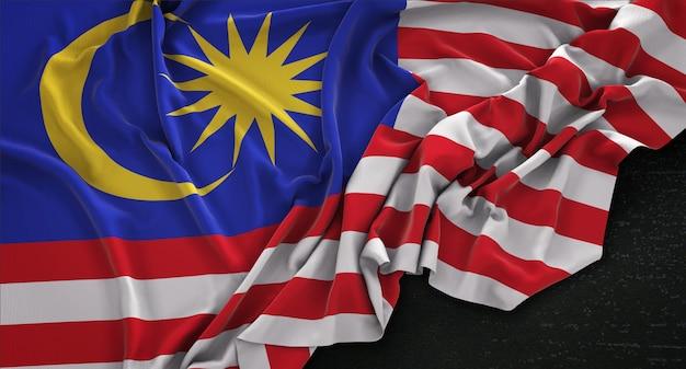 Bandiera della malaysia ruvida su sfondo scuro 3d rendering Foto Gratuite