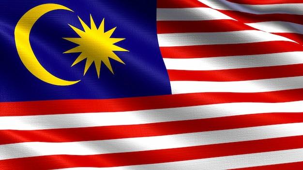 Bandiera della malesia, con texture tessuto ondeggiante Foto Premium