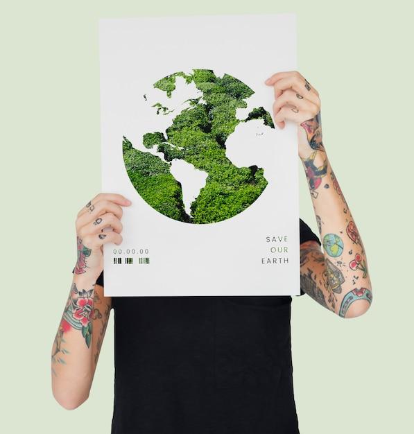 Bandiera di sovrapposizione grafica di rete holding uomo Foto Premium