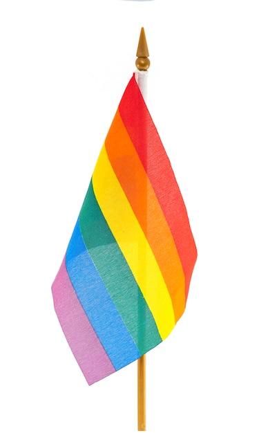 Bandiera gay del desktop lgbt arcobaleno isolata Foto Premium