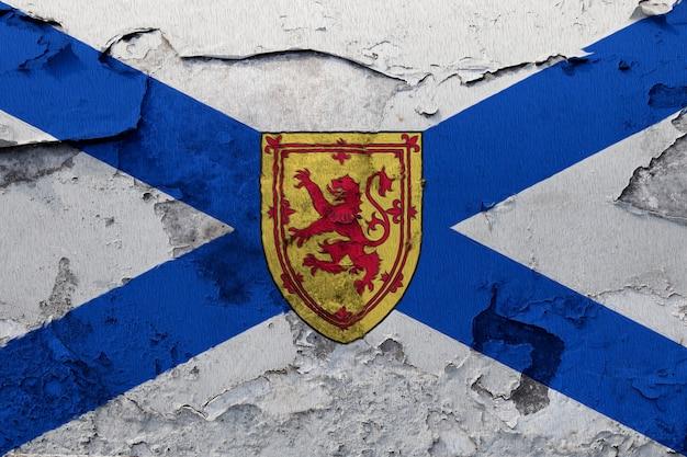 Bandiera nazionale dipinta di nuova scozia su un muro di cemento Foto Premium