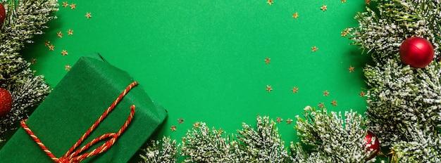 Banner di natale con scatola regalo Foto Premium