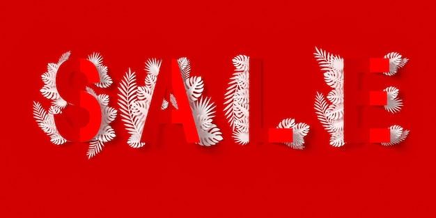 Banner di vendita con carta tagliata e foglie di carta artigianale floreale Foto Premium